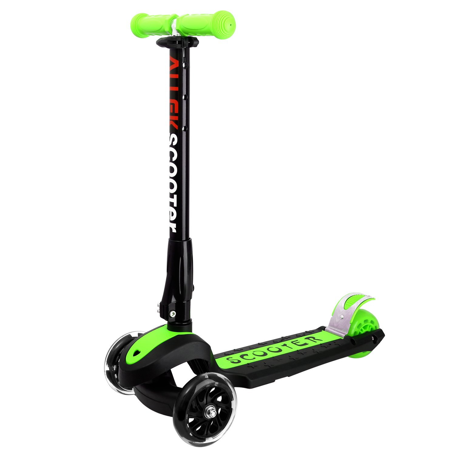 Allek 3 Wheel Scooter, Lean to Steer Deluxe3 Flashing UpWheel Adjustable Height Foldable Birthday Gift for Children from 3 to 17 Year-Old