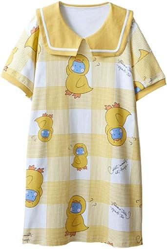 Pijama Mujer, Camisón De Algodón Niñas Princesa Camisones Camisones con Estampado De Corazón Pjs Tallas Grandes Ropa De Dormir 12 16 Años Amarillo 3XL: Amazon.es: Ropa y accesorios