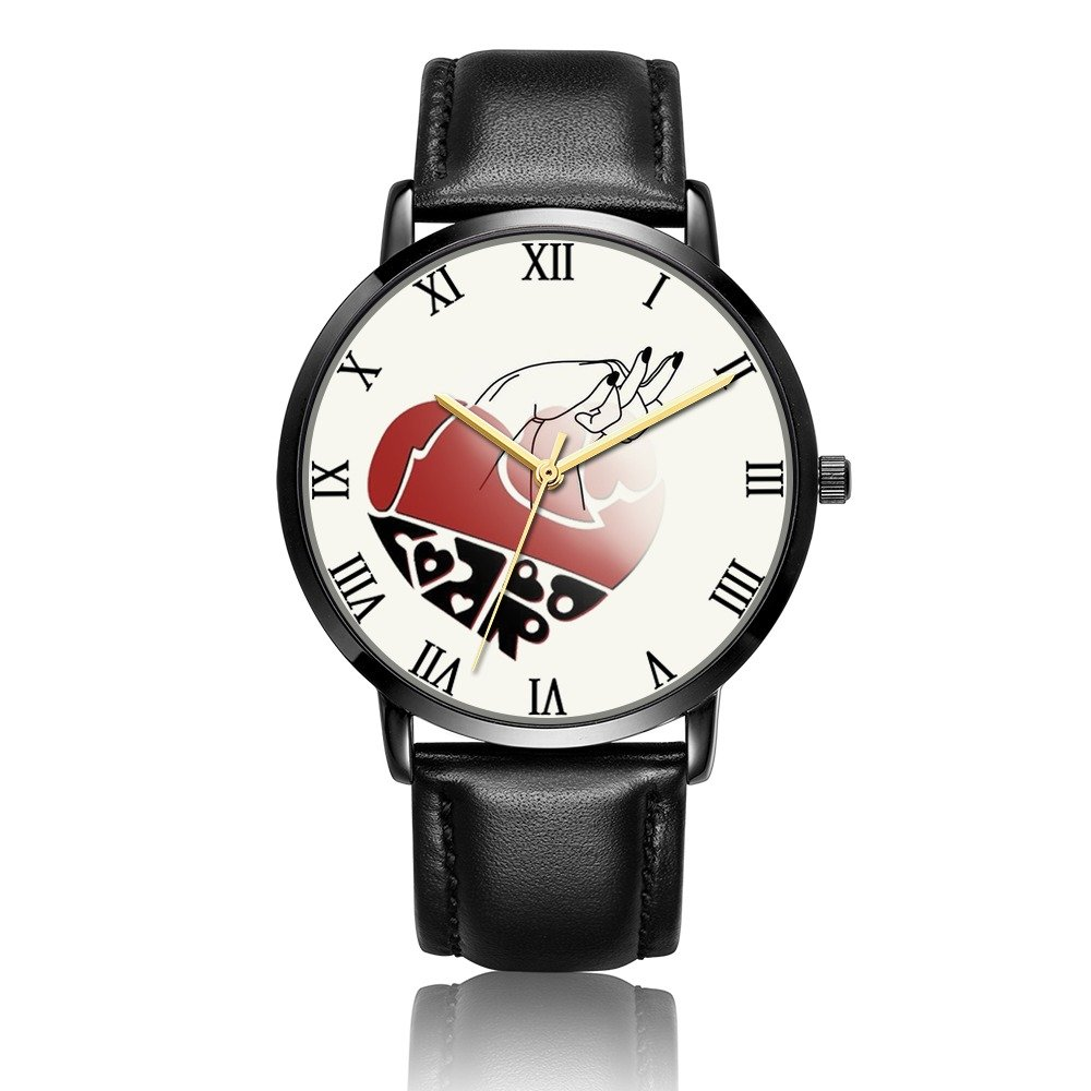 Kusa Fashion Love Heart Wrist Watch, Love Heart Pattern Design PU Leather with Stainless Steel Wrist Watch For Women and Men