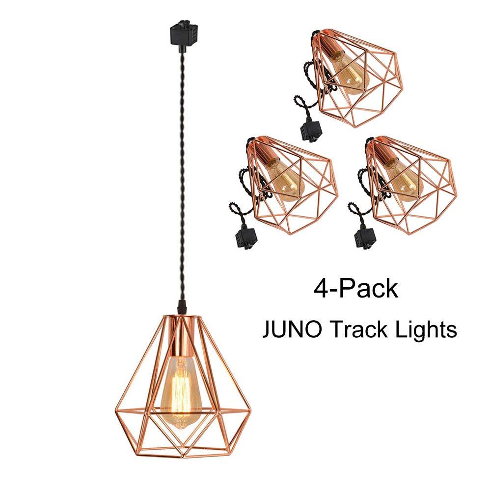 Kiven Juno Track Mounted Lighting Pendant Light Kit Copper Caged Hanging Pendant Lamp,Four Lamps