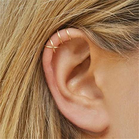 Choose Your Color Feather Charm Cartilage Non Pierced Wire Ear Cuff