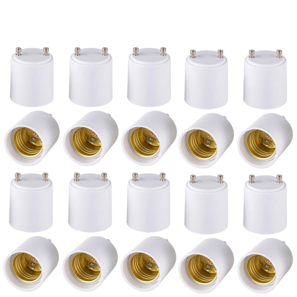 Onite 20 PCS GU24 to E26 E27 Adapter for LED Bulb, Converts Your Pin Base Fixture to Standard Screw-in Lamp Socket