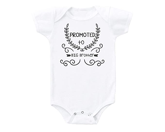 27c5b116 Promini Promoted to Big Brother Funny Cute Baby Onesie Gift Novelty Tshirt  Costume Babies Bodysuit White