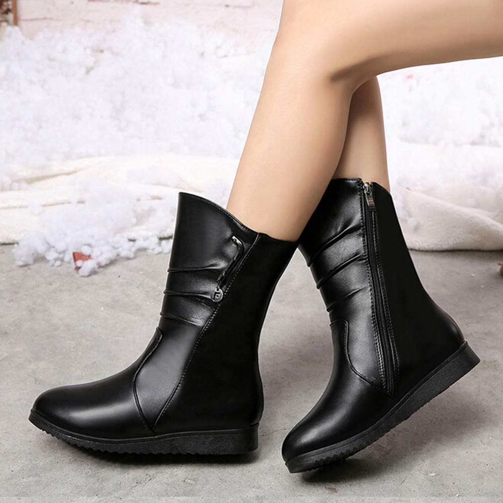 a2dda7525491 Amazon.com  Besde Women s Thick Heel Leather Round Toe Wedges Boots Zipper  Clearance Middle Tube Boots  Beauty