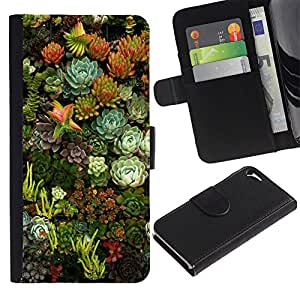 For Apple iPhone 5 / iPhone 5S,S-type® Flowers Nature Floral Green Garden - Dibujo PU billetera de cuero Funda Case Caso de la piel de la bolsa protectora