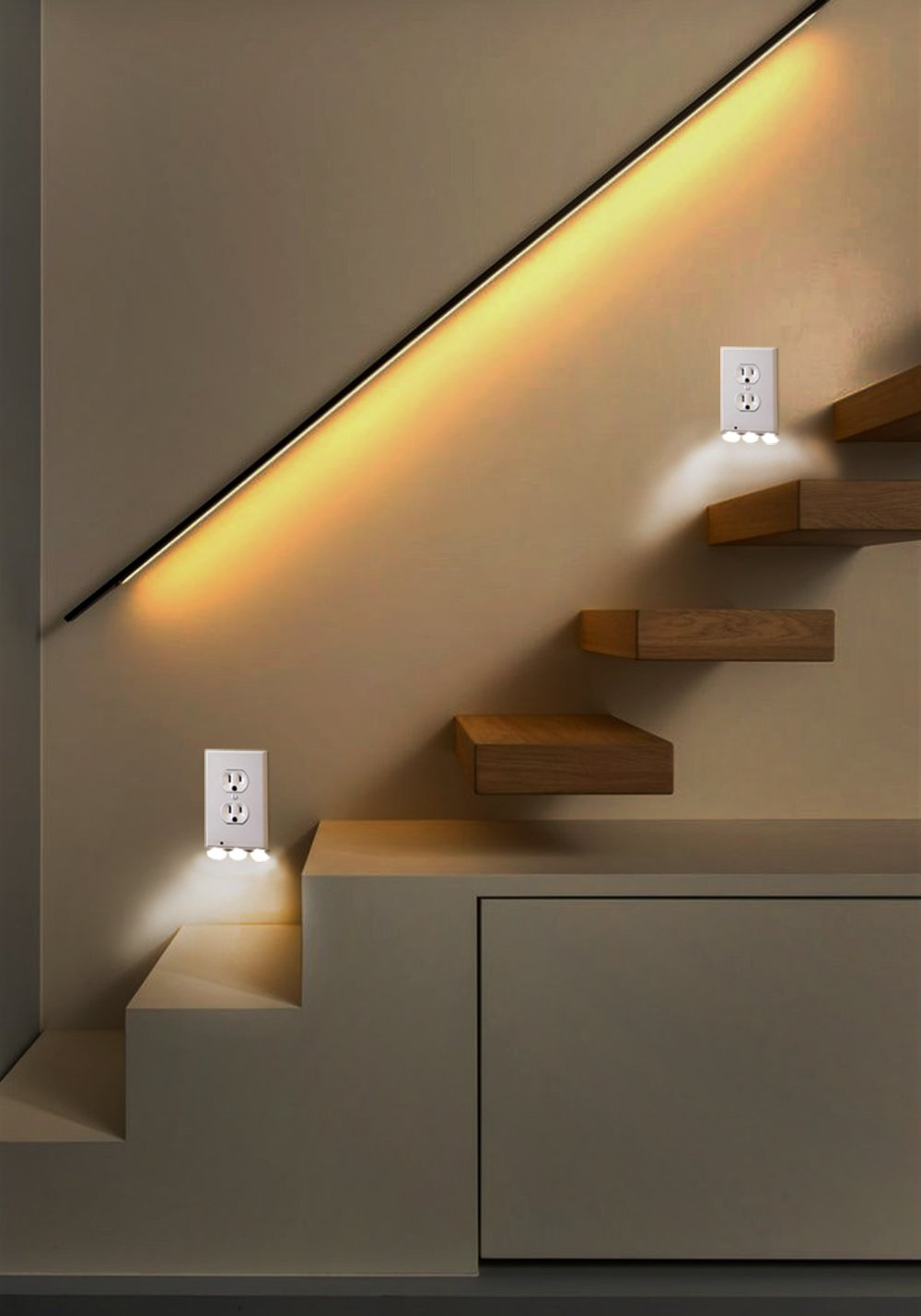 Outlet Wall Plate With Led Night Lights - 4 pack Duplex - Build on Sensor Nights Light - Electrical cover Plates Nightlight - Covers Plate Energy Efficient nightlights by Smart Outlet (Image #6)