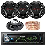 Pioneer DEH-X6900BT Car CD Player Receiver Bluetooth USB AUX Radio - Bundle Combo With 4x JVC CSDR620 6.5'' Inch 300-Watt 2-Way Black Audio Coaxial Speakers + Enrock 50 Feet 18-Gauge Speaker Wire