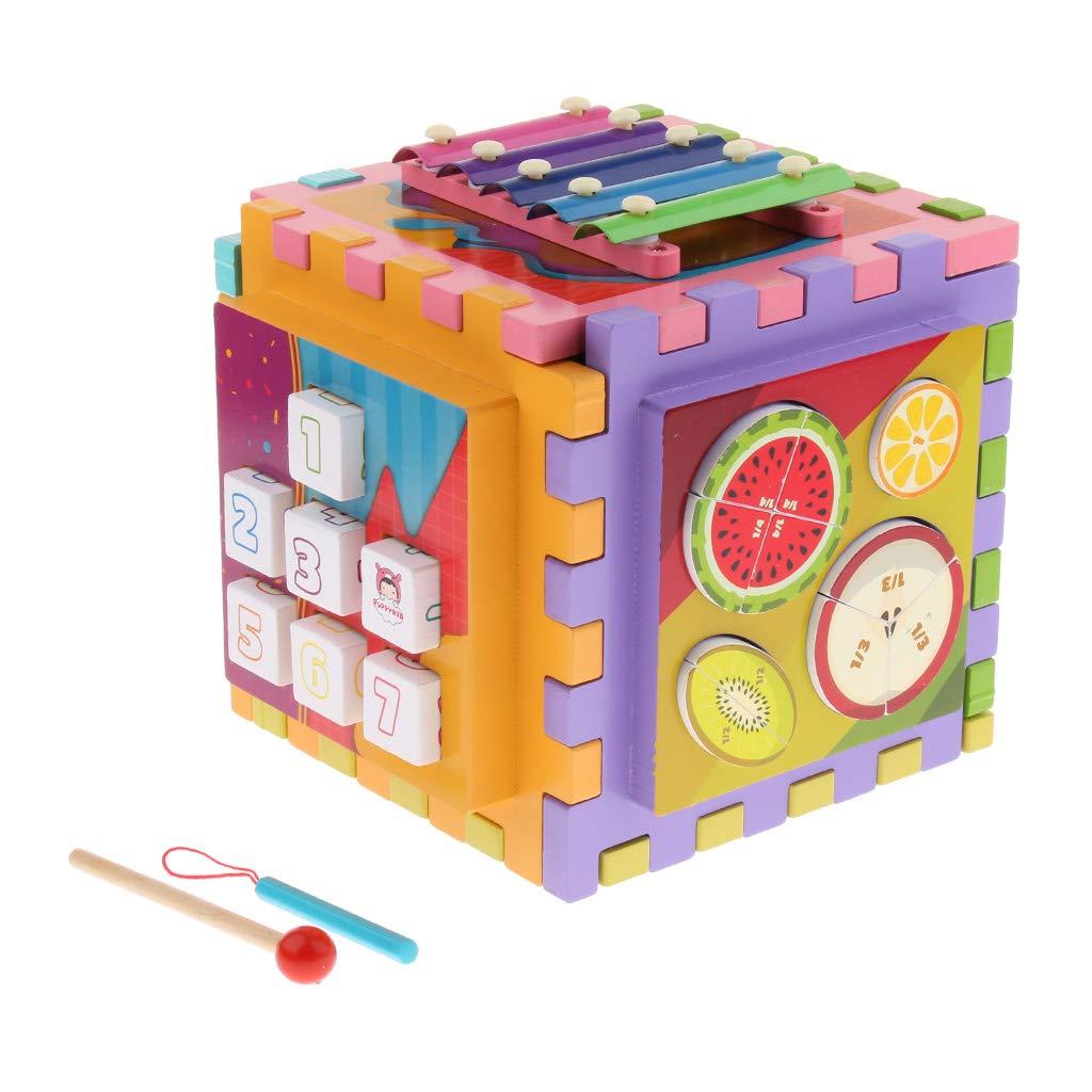 B Blesiya Cubo De Actividad De Madera con Laberinto - 6 En 1 Cubo De Actividad De Bebé para Niños, Incluye Engranajes, Tangram, Xilófono, Laberinto, Bloques, Ju