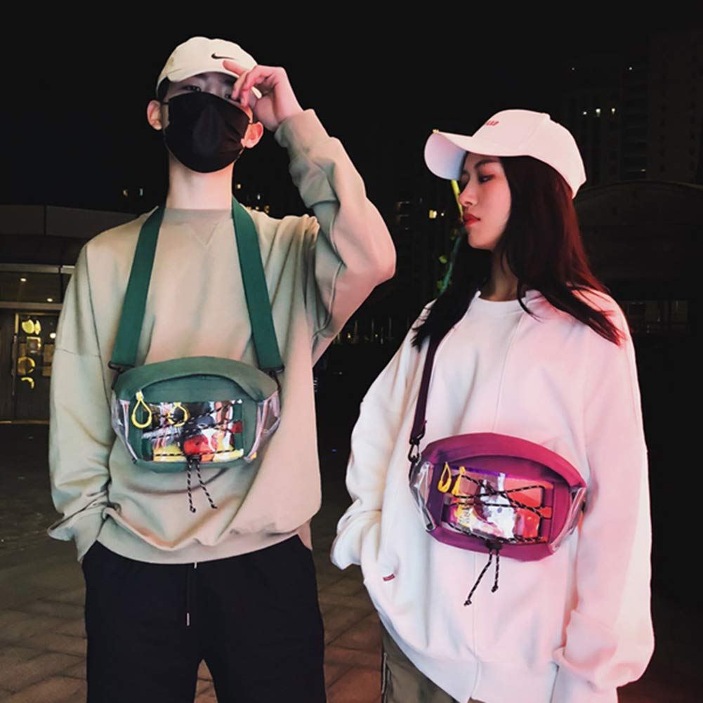 Brave669 Men Women Transparent PVC Patchwork Cross Strap Chest Waist Bag Fanny Pack Black