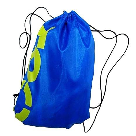 Gazechimp Cordón Bolsa De Deporte Mochila Impermeable De Lona para Playa Piscina Mochilas Azul Negro