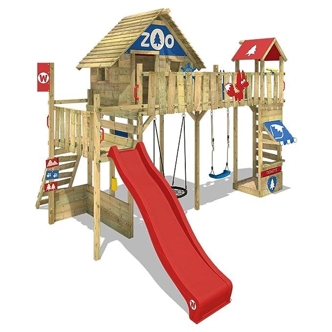 1817282680227a WICKEY Tour de jeux Smart Ranger Cabane sur pilotis aire de jeux avec une  plateforme de 200cm de hauteur, toit en bois, toboggan, balançoire, pont,  ...