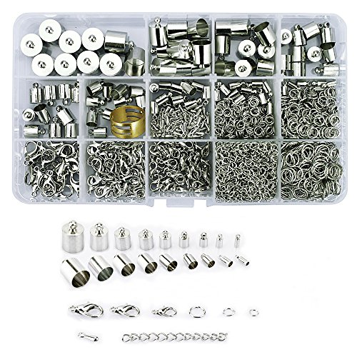 Lollibeads® (1000 Pcs) Silver Plated Barrel Leather Cord Ends Cord End Cap 3mm-12mm, Lobster Clasp 10mm 12mm 14mm,jump ring 5mm-8mm, jump ring open tool and Extension Chains Kits Assorted -