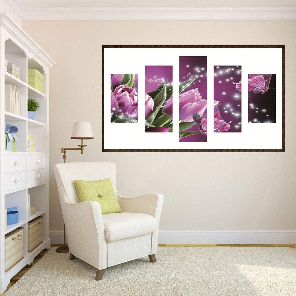 Fairylove 16/×32 inches Diamond Painting Full Wall Hanging Decor Painting with Diamonds Dotz Kit Cross Stitch Kits Embroidery Arts Crafts for Living Room,Blooming Lotus(5 Panel Decor Painting)