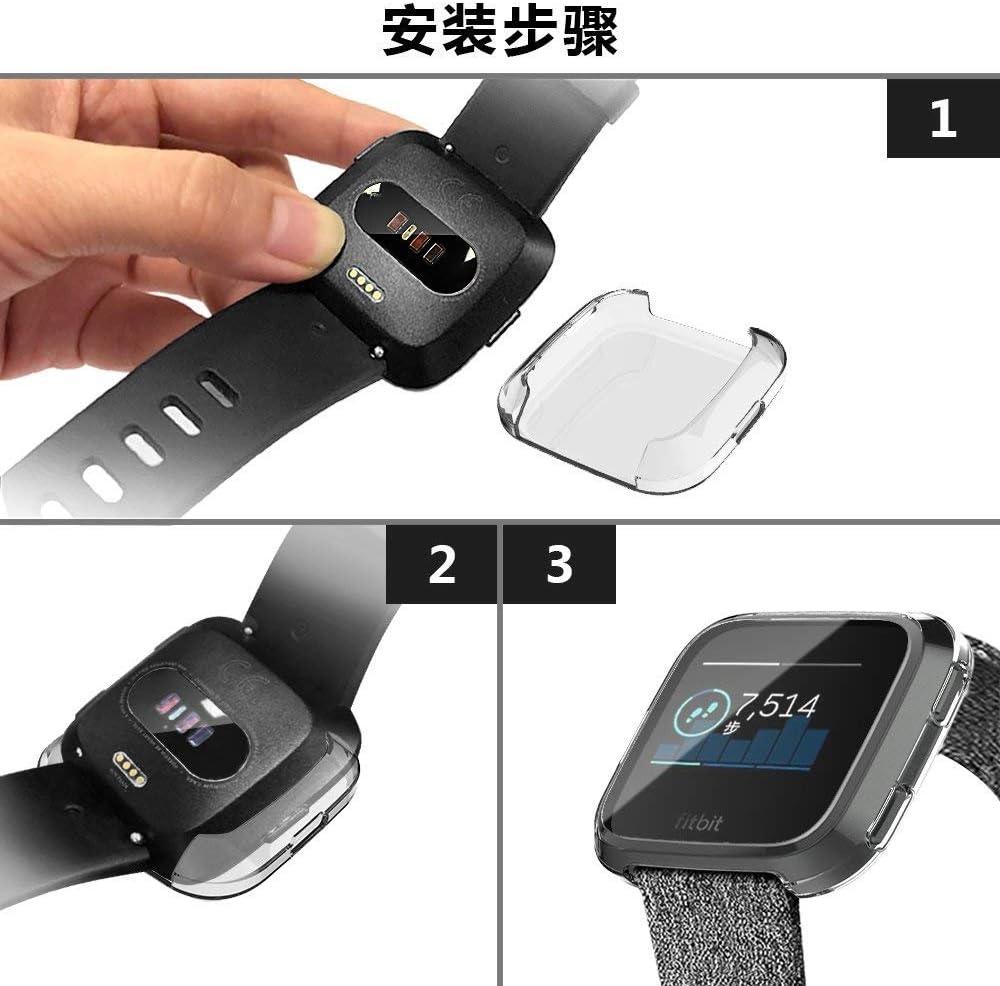 Noir//Rose Pink Couverture int/égrale Protecteur d/'/Écran Case Cover pour Montre Fitbit Versa KTcos for Coque Fitbit Versa