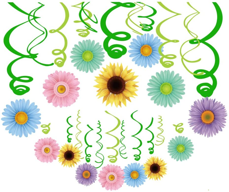 CC HOME Spring Summer Sunflower Party Decoration,30CT Summer Spring Daisy Flower Hanging Swirl Decorations ,Party Favor for Home,Classroom, Ceiling Wall Decor ,Girl,Boys Baby Shower,Birthday Party ,Summer Party,Luau Decoration Supplies,Multicolor