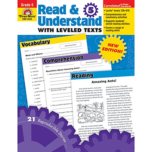 read \u0026 understand with leveled texts, grade 4 evan moorread \u0026 understand with leveled texts, grade 4 evan moor 0023472034441 amazon com books