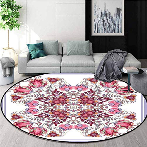 Batik Super Soft Round Home Carpet Vintage Colored Spring Inspired Blooming Floral Motif Oriental Lace Bridal Artwork for Sofa Living Room D59.1 Inch Pink Lilac
