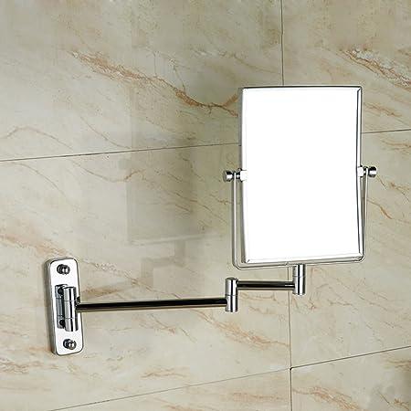DW/&HX Specchio da Bagno Trucco Specchio Quadrato di Trucco Montaggio a Parete Specchio da Bagno allungabile Girevole bifacciale Specchio di Bellezza Bagno Hotel-Silver