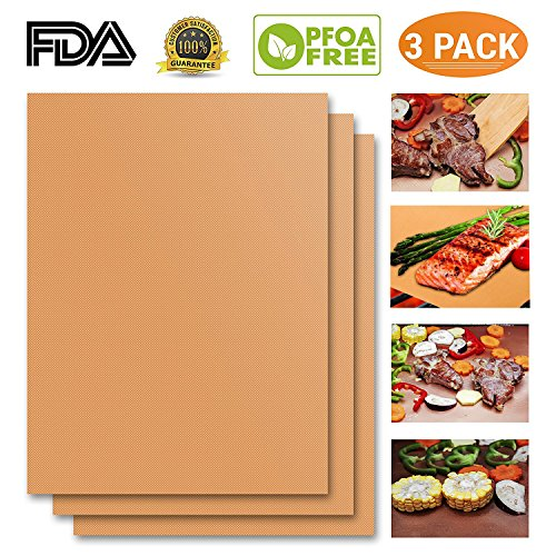 Over Gold Mat - NiceOne Copper Grill Mat Set of 3-100% Non-stick BBQ Grill Mat- FDA-Approved, PFOA Free, Easy to Clean Dishwasher Safe-Works on Gas, Charcoal, Electric Grill and More-15.75 x 13 Inch (Gold)