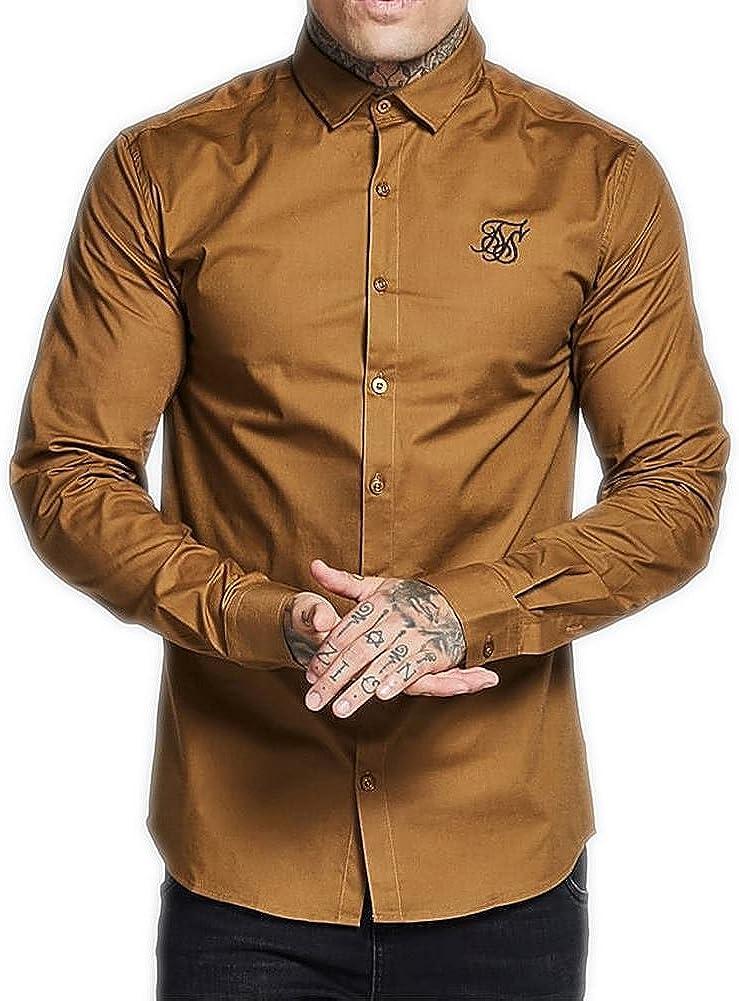 Camisa Manga Larga Siksilk – L/s Cotton Stretch marrón/Negro Talla: L (Large): Amazon.es: Ropa y accesorios