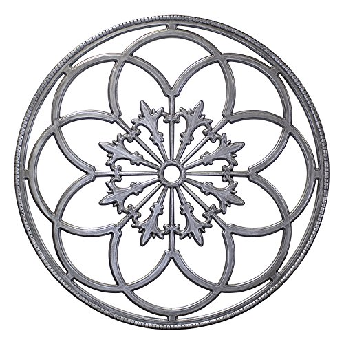 Kate and Laurel Ondelette Round Medallion Wood Wall Art Plaque, 32 inch Diameter, Silver