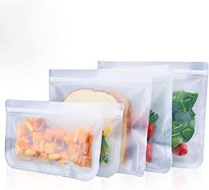 5 Packs Reusable Storage Bags, 3 Reusable Lunch bags + 2 Reusable snack bags Seal Zip lock Bag Eco-friendly leakproof Lunch Bag for food travel items storage organization