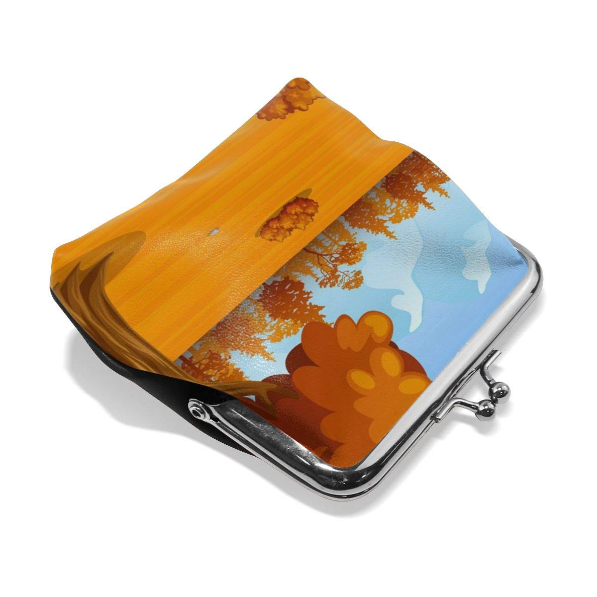 Yunshm Autumn Landscape Background Customized Leather Classic Floral Coin Purse Clutch Pouch Wallet For Womens