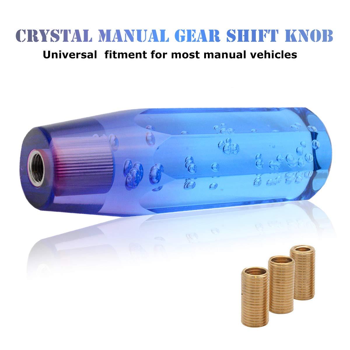 p/úrpura con Cabeza de Cambio de Cristal Color Azul Burbuja de Aire 15 cm Pomo de Cambio Manual para Coche MASO
