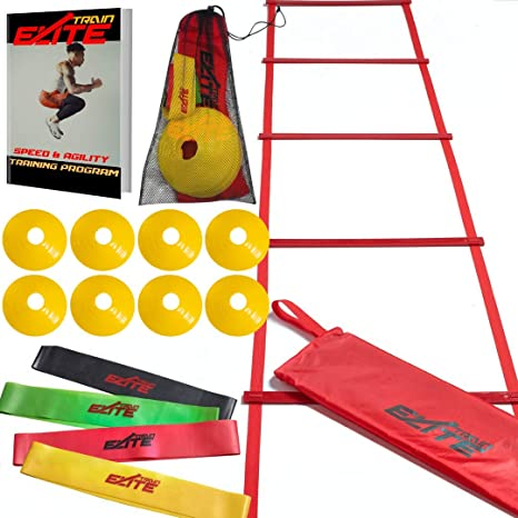 Train Elite Speed and Agility Ladder and Cones Workout Fitness Training  Equipment Exercise ladders for Soccer Basketball Football for Youth Kids