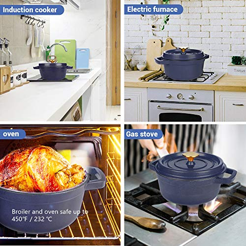 AIDEA Enameled Cast Iron Matte Dutch Oven Pot with Lid-5 Quart All-round for Preparing Low and Slow Cooking Meals