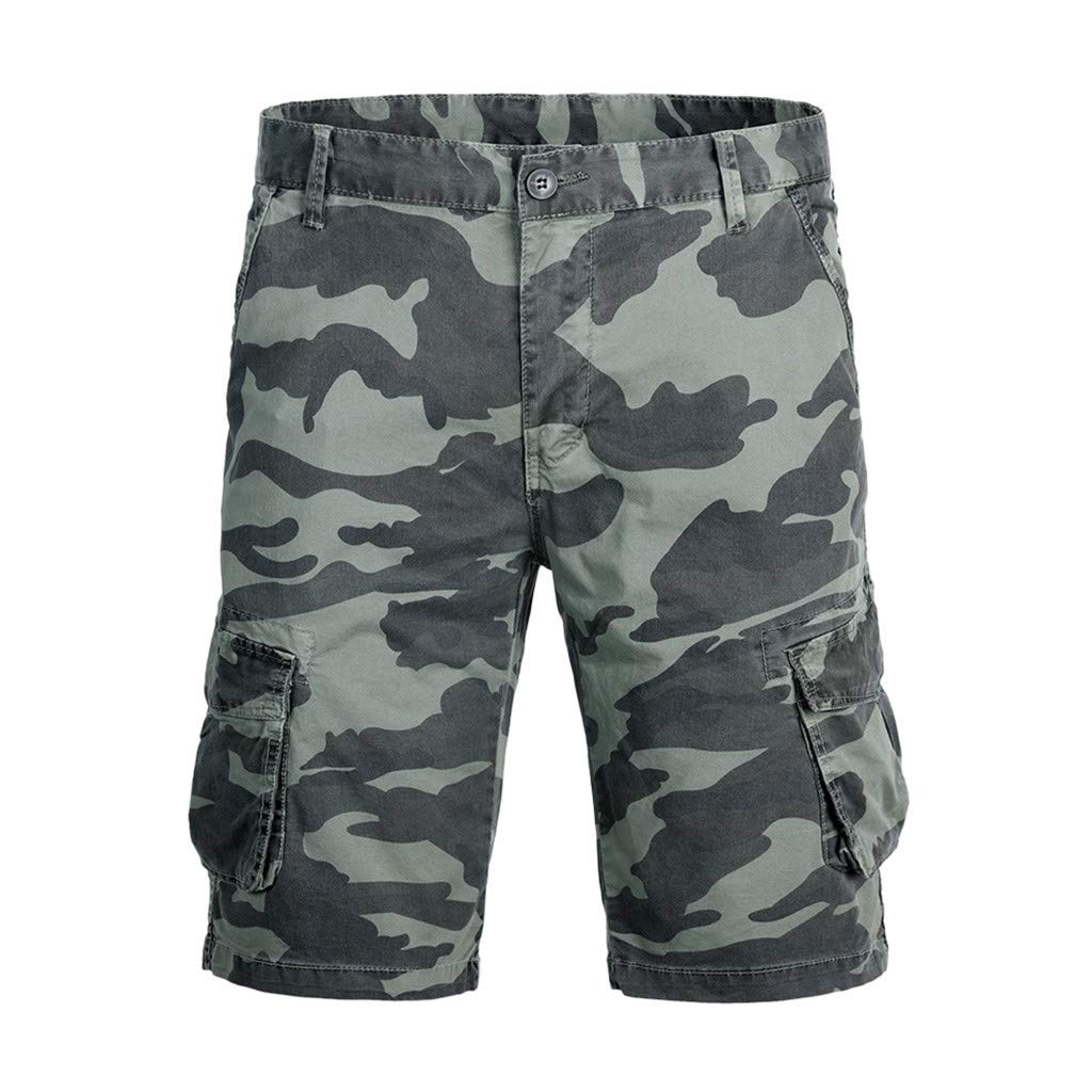 Manningll Mens Overalls Shorts Camouflage Wind Casual Tooling Shorts with Buttons Pockets
