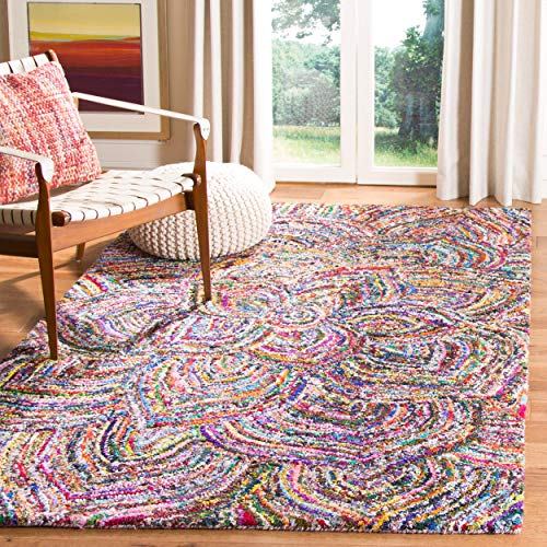 Safavieh Nantucket Collection NAN517A Handmade Abstract Floral Multicolored Cotton Square Area Rug (6