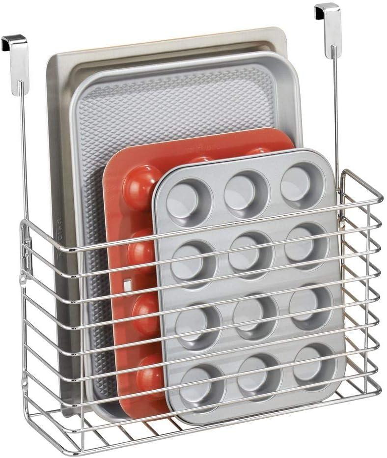 mDesign práctico mueble auxiliar cocina - Estante cocina colgante - Estanteria metalica en color cromado para sus utensilios de cocina