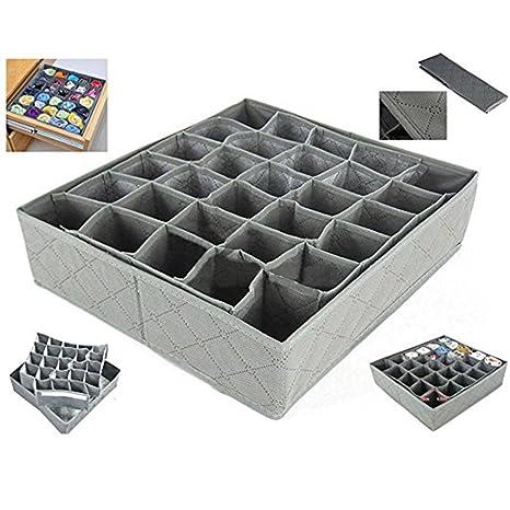 CAOLATOR Organizador de cajones calcetines y ropa interior caja de almacenamiento 30 compartimentos, color gris