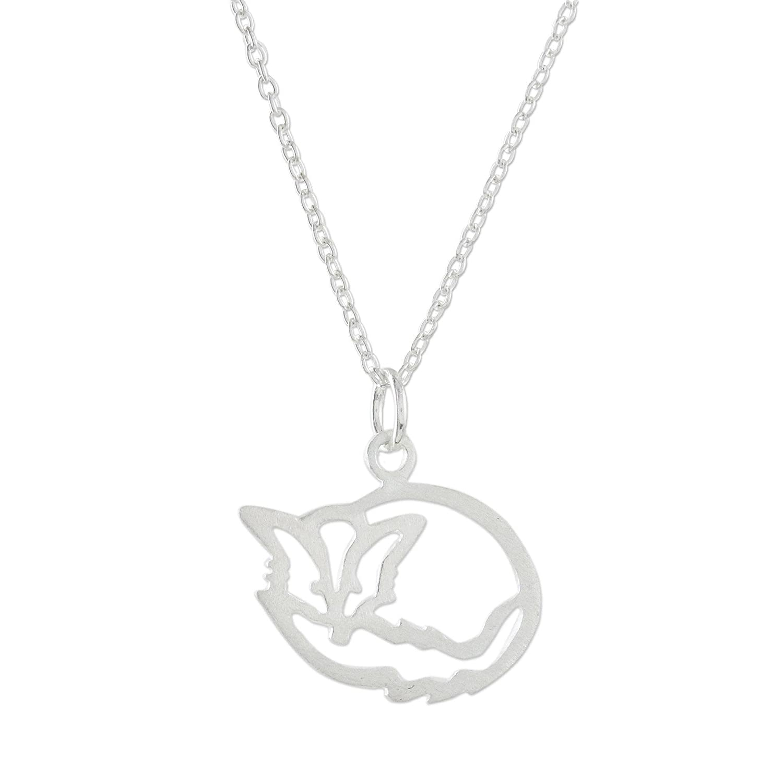 16.25 Sleepy Fox NOVICA .925 Sterling Silver Pendant Necklace