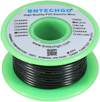 BNTECHGO 24 AWG 1007 Electric Wire 24 Gauge PVC 1007 Wire Stranded Wire Hook Up Wire 300V Stranded Tinned Copper Wire Green 100 ft Per Reel for DIY