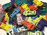 "3/4"" Flint Firesteel Whistle Paracord Buckles for Paracord Bracelets Multicolored Neon/Pastel"