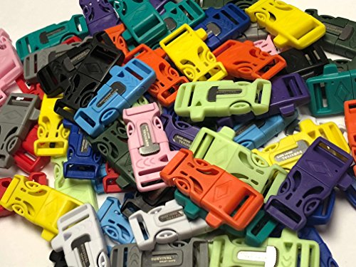 """3/4"""" Flint Firesteel Whistle Paracord Buckles for Paracord Bracelets Multicolored Neon/Pastel by Stockstill Outdoor Supply"""