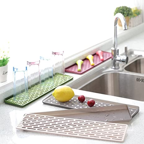 Amazon.com: 2 Tiers Dish Drying Racks Drainboard Set, Plastic Small ...