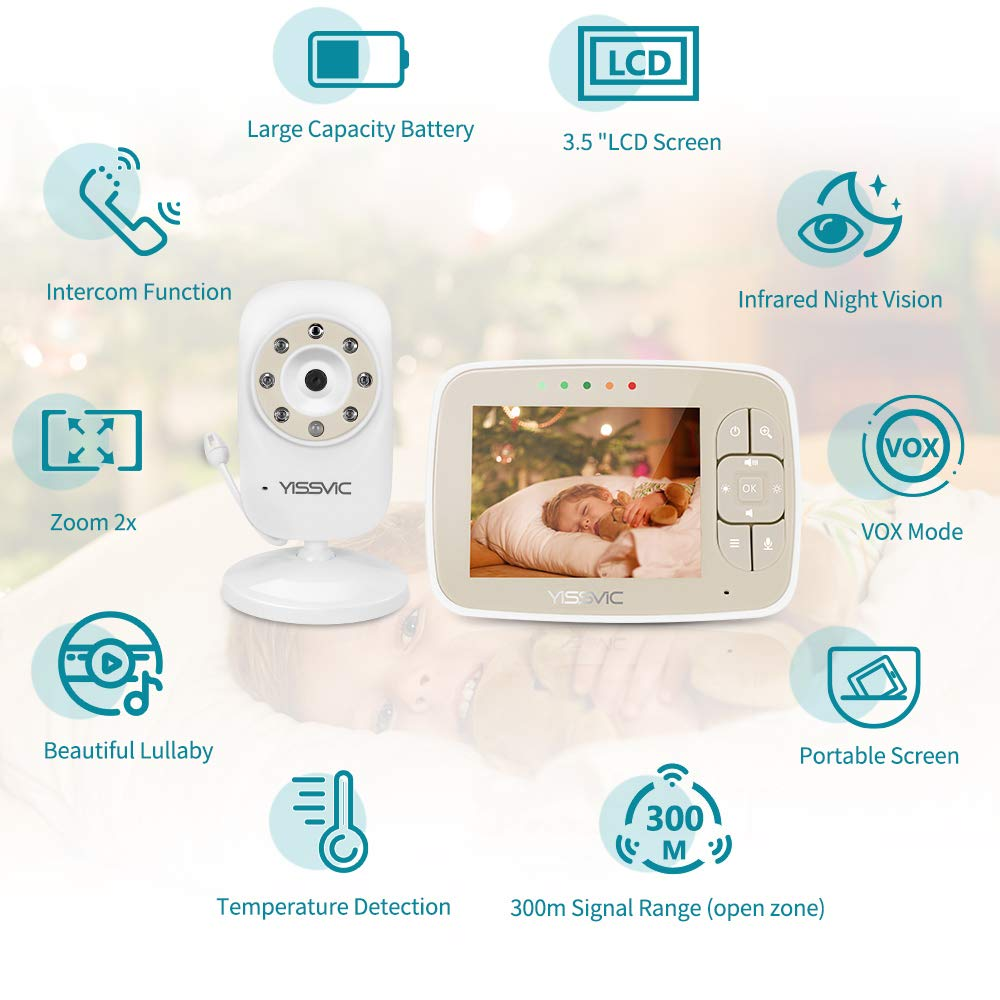 """VOX YISSVIC Baby Monitor Video Wireless Baby Monitor with Camera 3.5/"""" Color LCD Digital Screen Two-Way Talk Temperature Monitoring"""