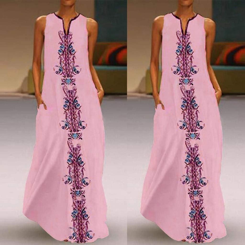 Maxi Dress Women/'s Casual Boho Print V-Neck Forky Hem Ethnic Dress Baggy Sleeveless Turkish Kaftan Long Dress