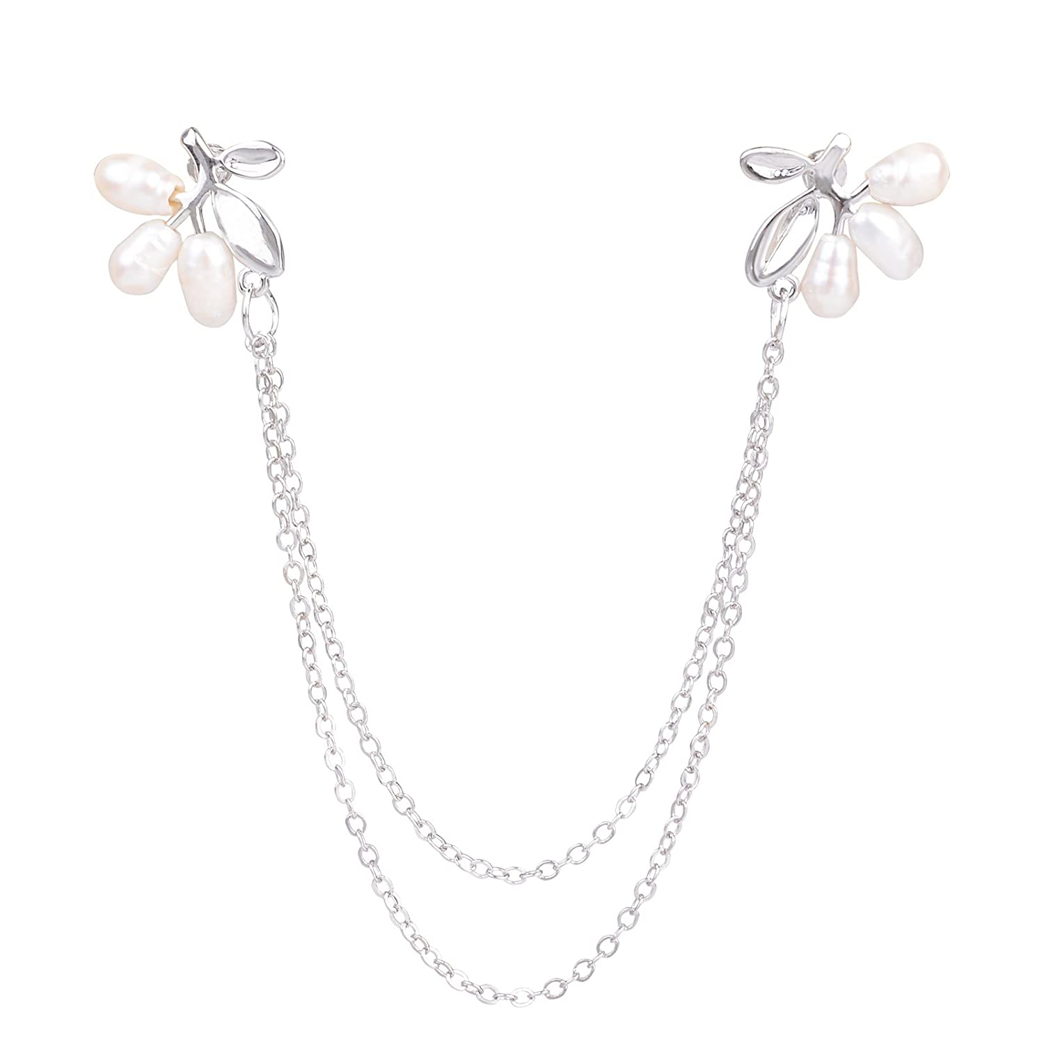 82455d5d2bed OBONNIE Natural Pearl Fruit Silver Leaf Flower Life Tree Brooch Collar Pin  Skirt Lapel Pin with Chain