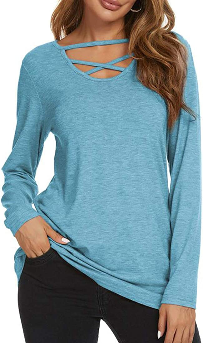 Ranee Women's Cross V Neck Long Sleeve Casual Loose Tunic Shirt Blouse Top
