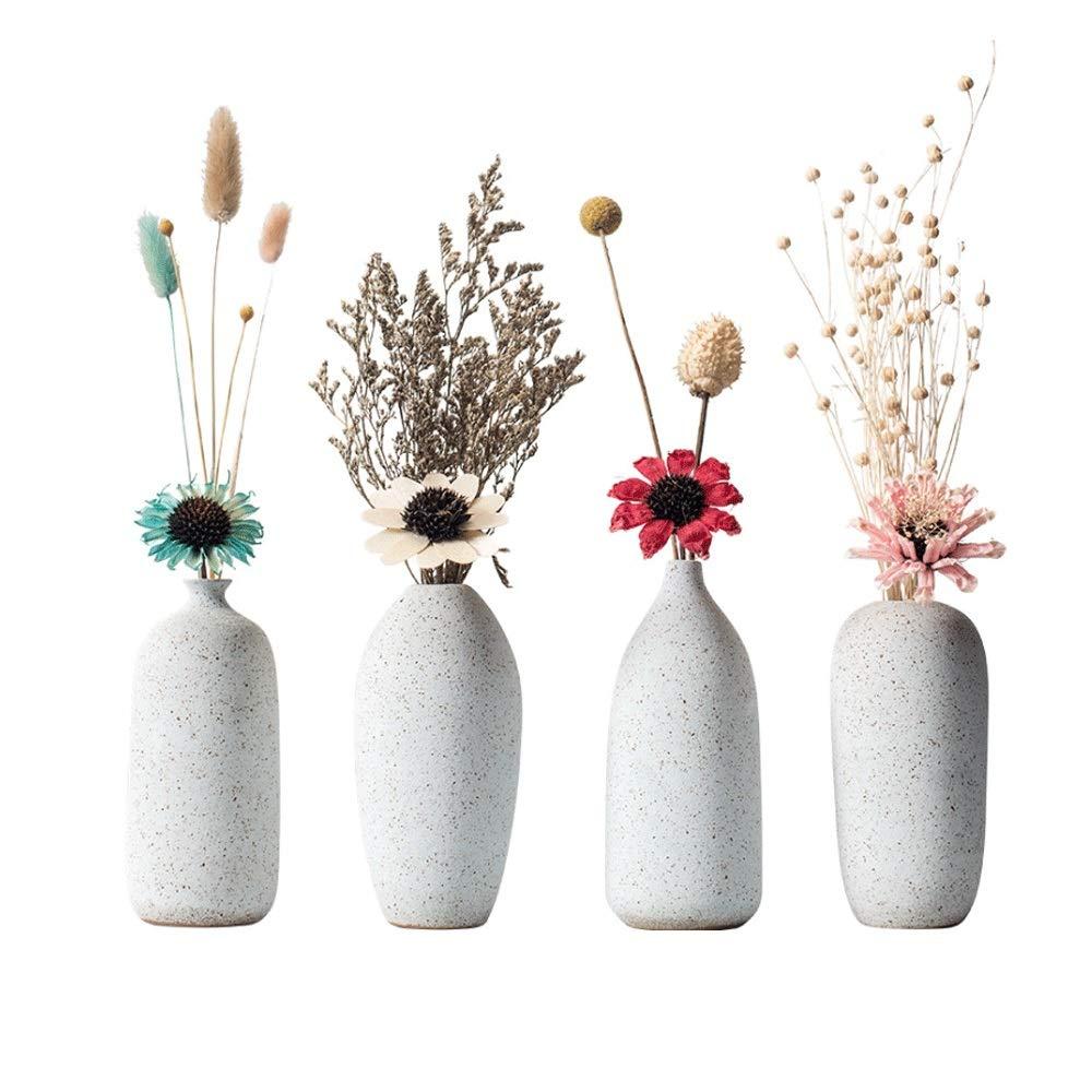 花瓶、陶器製セラミック花瓶クリエイティブホームデコレーションデスクダイニングテーブルクリエイティブフラワーアレンジメントフラワーデコレーション- 4セット(ドライフラワーを除く) B07RL7S31V