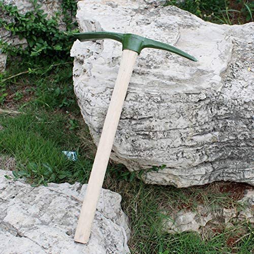 LXFMZ Mattock Pickaxe, Steel Pick Axe with Railroad Pick Axe, Wooden Handle Pick Axe for Transplanting Digging Planting Tool Yard Garden