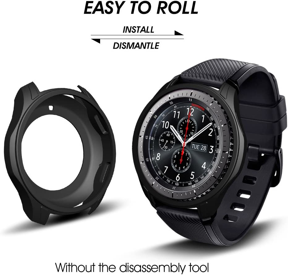 3-Black-New Shock-Proof and Shatter-Resistant Protective Band Cover Case for Samsung Gear S3 Frontier SM-R760 Smartwatch AWINNER Case for Gear S3 Frontier SM-R760