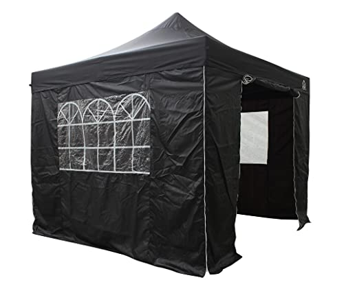 All Seasons Gazebos, Choice Of 5 Colours and 2 Sizes, Heavy Duty, Fully Waterproof , Premium Pop Up Gazebo With 4 x Zip Up Side Panels and carry bag (Black, 3m x 3m)