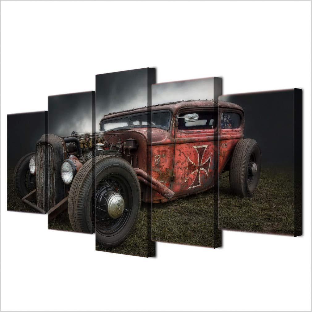 YCOLLC Gerahmte Hd Gedruckt Moderne Wandkunst Leinwand 5 Panel Antike Hot Rod Oldtimer Auto Wohnkultur Wohnzimmer Malerei Modulare Bilder