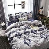 KFZ Ecology Cotton Bed Set Bedding Set Duvet Cover No Comforter Flat Sheet Pillow Cases MF Twin Full Queen Sheets Set Bohemian Elk Flower Design for Kids (Leaf Dance, Multi, Full 70''x86'')