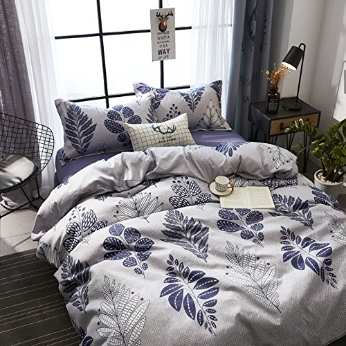 KFZ Ecology Cotton Bed Set Bedding Set Duvet Cover No Comforter Flat Sheet Pillow Cases MF Twin Full Queen Sheets Set Bohemian Elk Flower Design for Kids (Leaf Dance, Multi, Full 70''x86'')